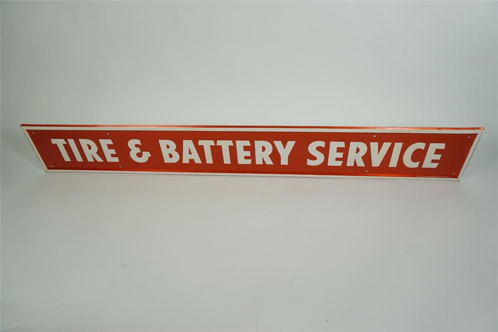 "NOS Firestone Tires ""Tire and Battery Service"" single-sided tin automotive garage sign. - Front 3/4 - 186236"