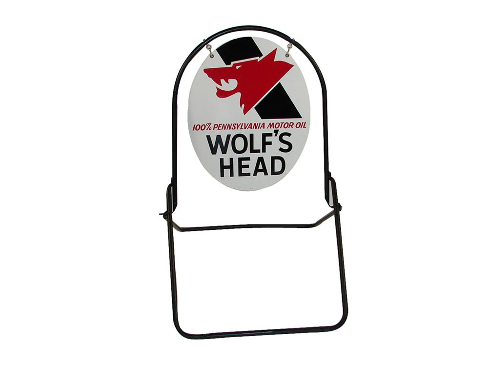 Good looking vintage Wolf's head Motor Oil double-sided tin painted curb sign in original stand. - Front 3/4 - 186247