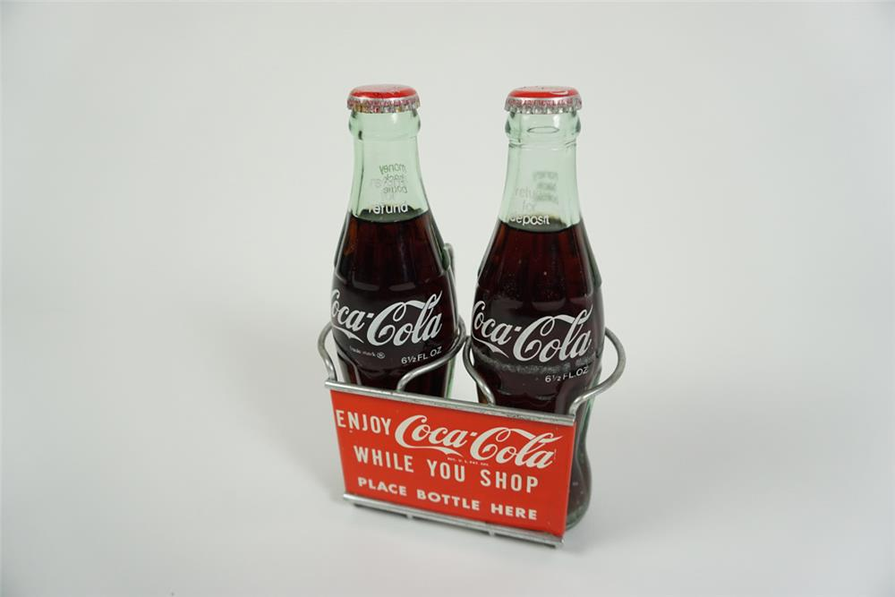 Hard to find 1950s Coca-Cola shopping cart bottle holder found in unused condition. - Front 3/4 - 186251