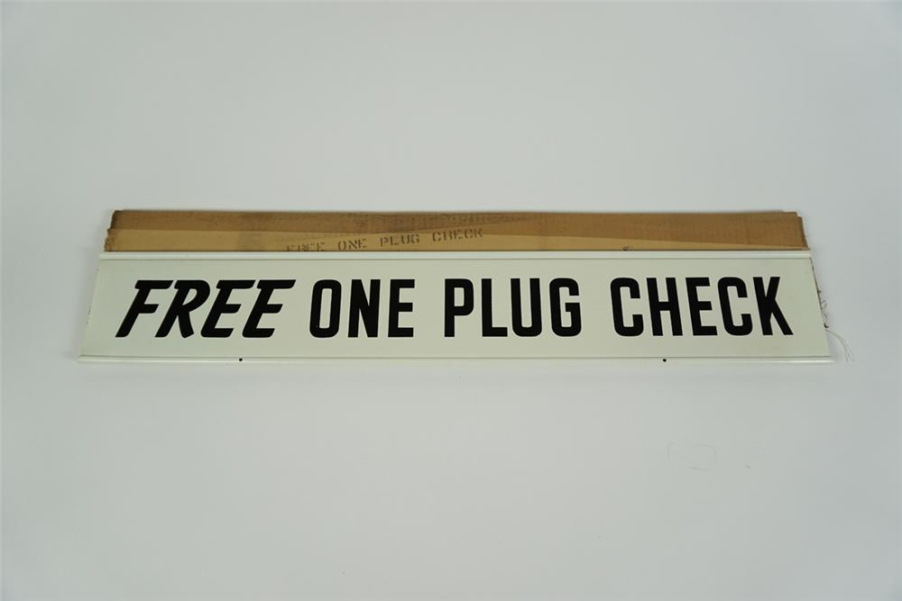 """NOS 1950s-60s Champion Spark Plugs """"Free One Plug Chek"""" double-sided tin automotive garage sign - Front 3/4 - 186255"""