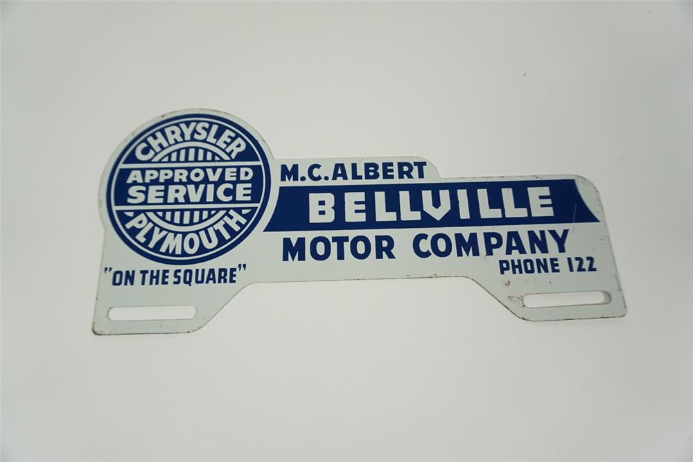 Circa 1940s Chrysler-Plymouth Approved Service dealership promotional license plate attachment sign with logo. - Front 3/4 - 186257