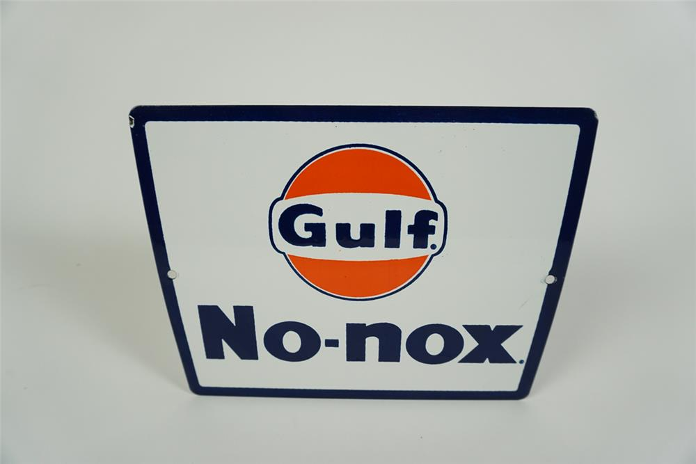 NOS late 1950s-early 60s Gulf No-Nox single-sided porcelain pump plate sign with Gulf logo. - Front 3/4 - 186260