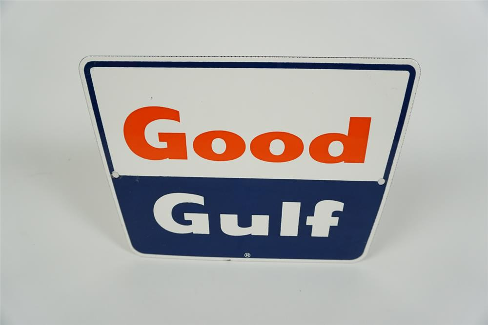 NOS late 1950s-early 60s Good Gulf Gasoline single-sided porcelain pump plate sign. - Front 3/4 - 186261