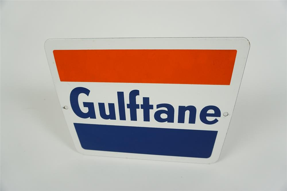 """NOS early 1960s Gulf Oil """"Gulftane"""" Gasoline single-sided porcelain pump plate sign with Gulf logo. - Front 3/4 - 186262"""