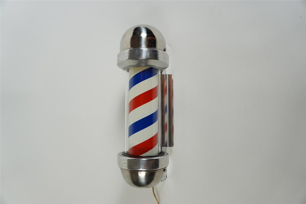 Stellar late 1950s William Marvy model #410 lighted barber pole with reflection screen. - Front 3/4 - 186263