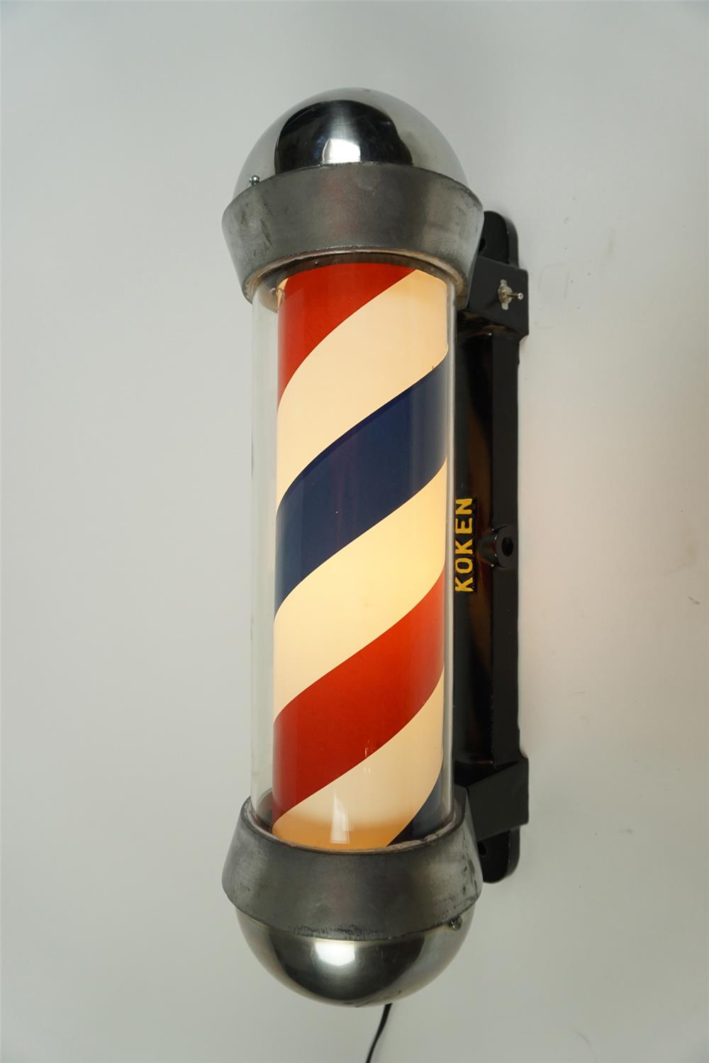 Wonderful over-sized 1940s Koken Barber Pole. - Front 3/4 - 186264