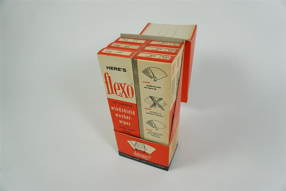 Early 1960s NOS Flexo Windshield-Washer Wiper cardboard display box. - Front 3/4 - 186265