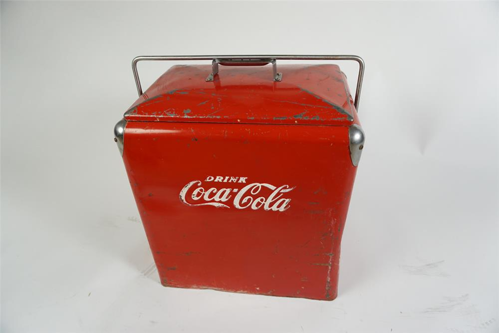 Circa 1950's Drink Coca-Cola large picnic cooler - Front 3/4 - 186271