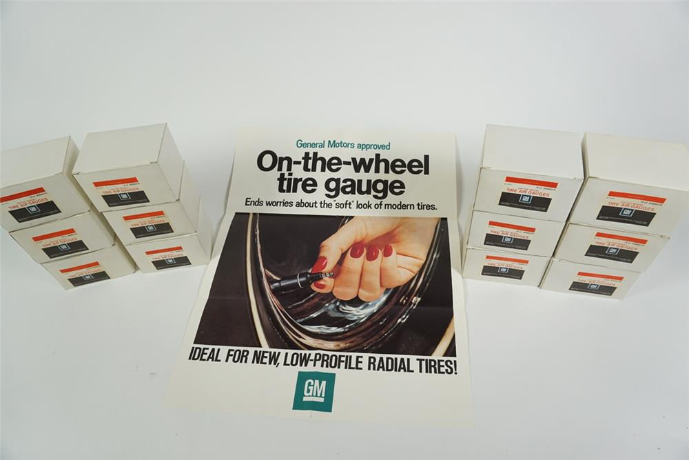 """Case of twelve boxes of NOS 1970's General Motors """"On-the-wheel tire gauge"""" service department display with poster. - Front 3/4 - 186275"""