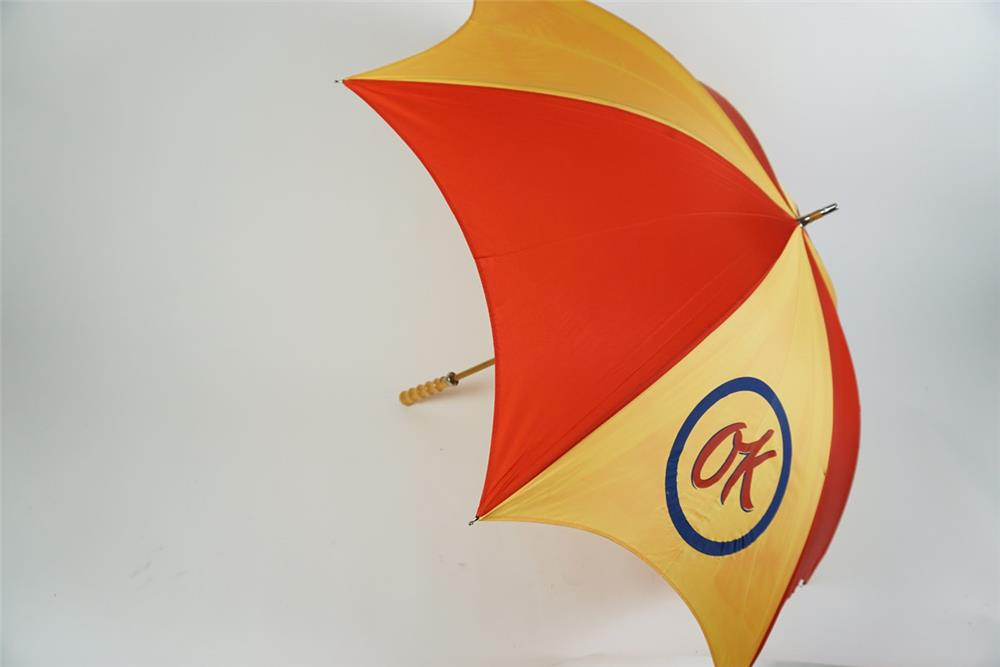 NOS 1970 Chevrolet OK Used Cars salesman's umbrella. - Front 3/4 - 186280