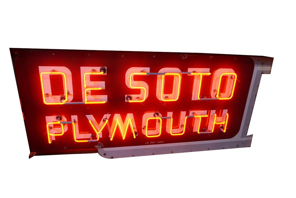 Sharp 1950's DeSoto Plymouth double-sided neon porcelain dealership sign. - Front 3/4 - 186300