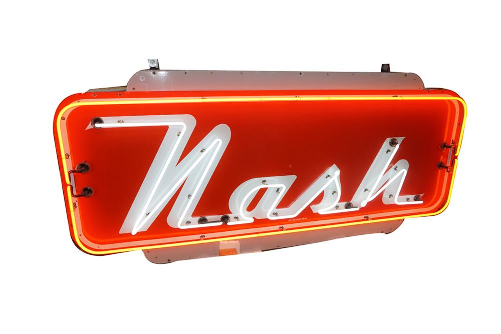 Very clean all original Nash Automobiles single-sided neon porcelain dealership sign. - Front 3/4 - 186305
