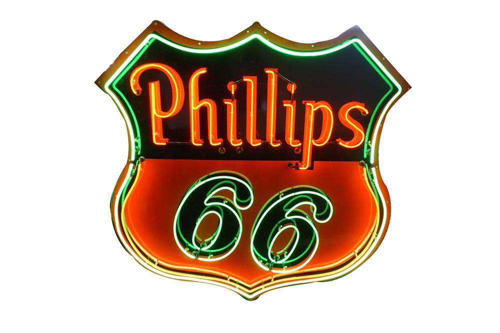 Stupendous 1940s-50s Phillip 66 Oil single-sided porcelain with neon service station sign. - Front 3/4 - 186307