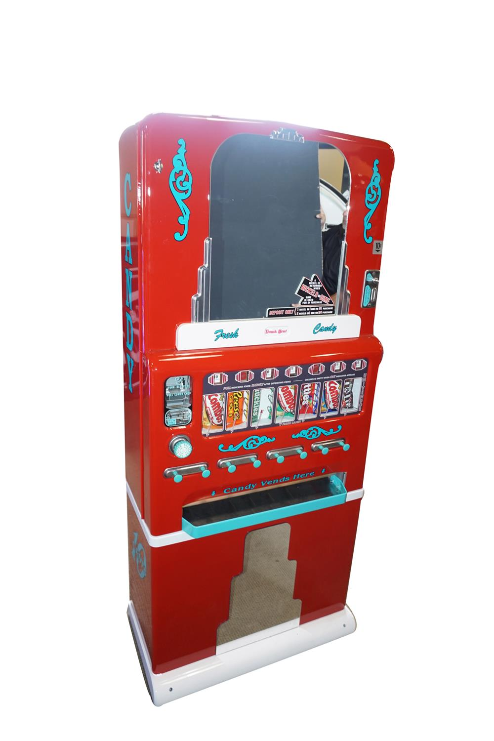 Exquisite 1940's Stoner seven selection cinema - service station restored coin-operated candy machine. - Front 3/4 - 186308