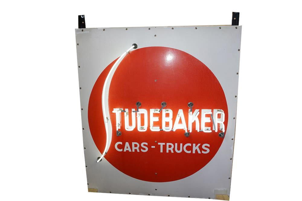 Very hard to find 1950s Studebaker Cars-Trucks double-sided porcelain dealership sign with hanging brackets. - Front 3/4 - 186309