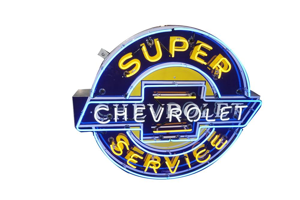Killer 1940s-50s Chevrolet Super Service single-sided neon porcelain dealership sign. - Front 3/4 - 186310