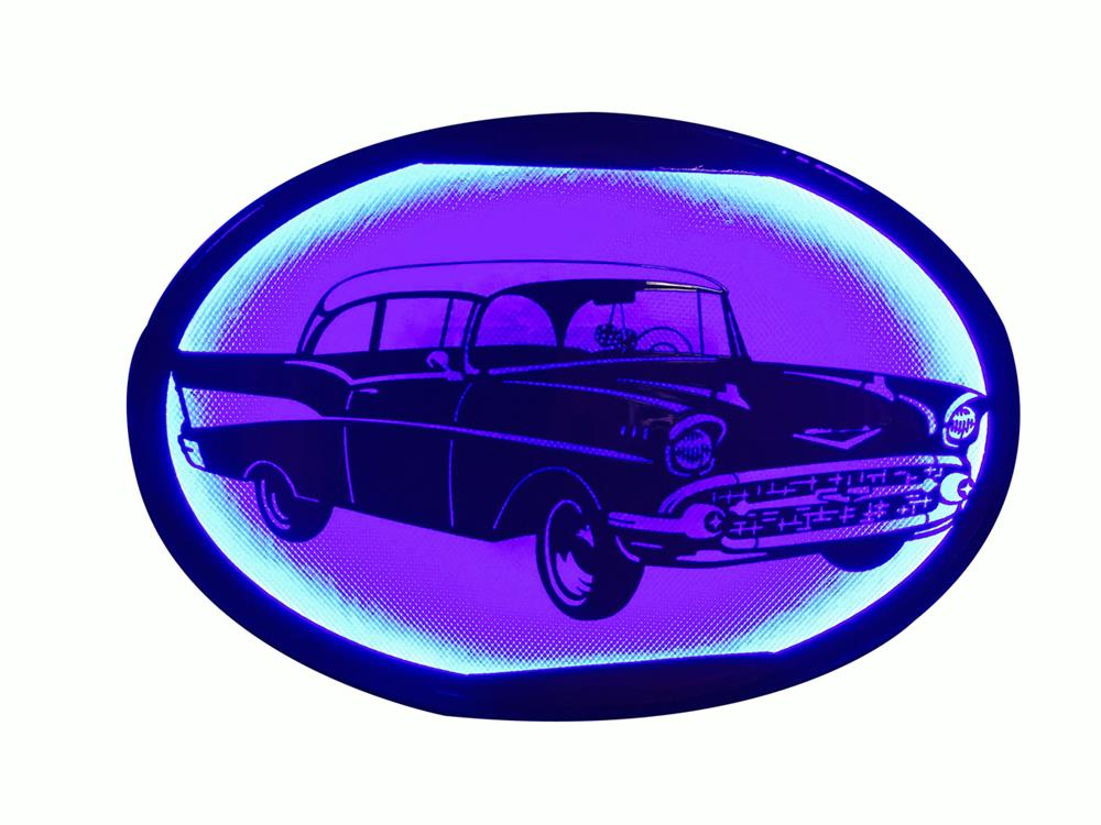 From McLaren Classic Restorations a one-of-a-kind all steel 1957 Chevy wall display - Front 3/4 - 186323