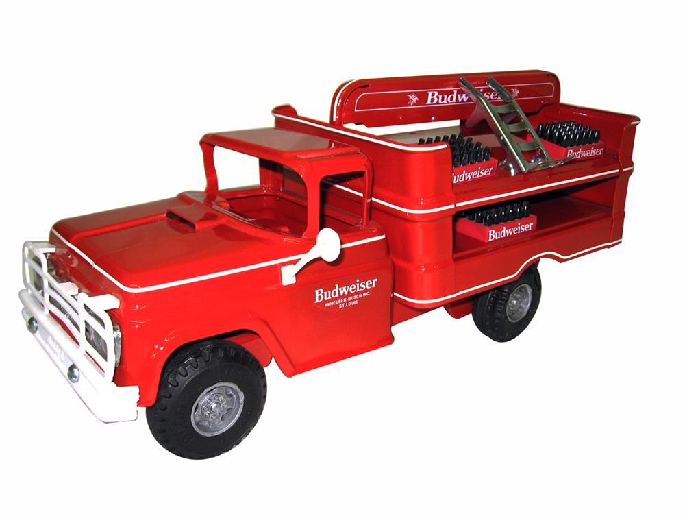 Excellent Buddy L truck restored into a one of a kind Budweiser delivery truck with hand cart and cases. - Front 3/4 - 186332