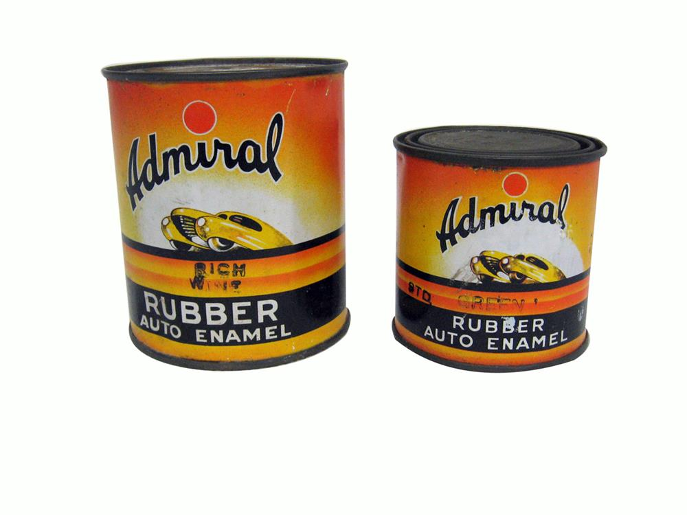 Pair of vintage Admiral Rubber Auto Enamel paint cans with futuristic car graphics. Found unused. - Front 3/4 - 186340