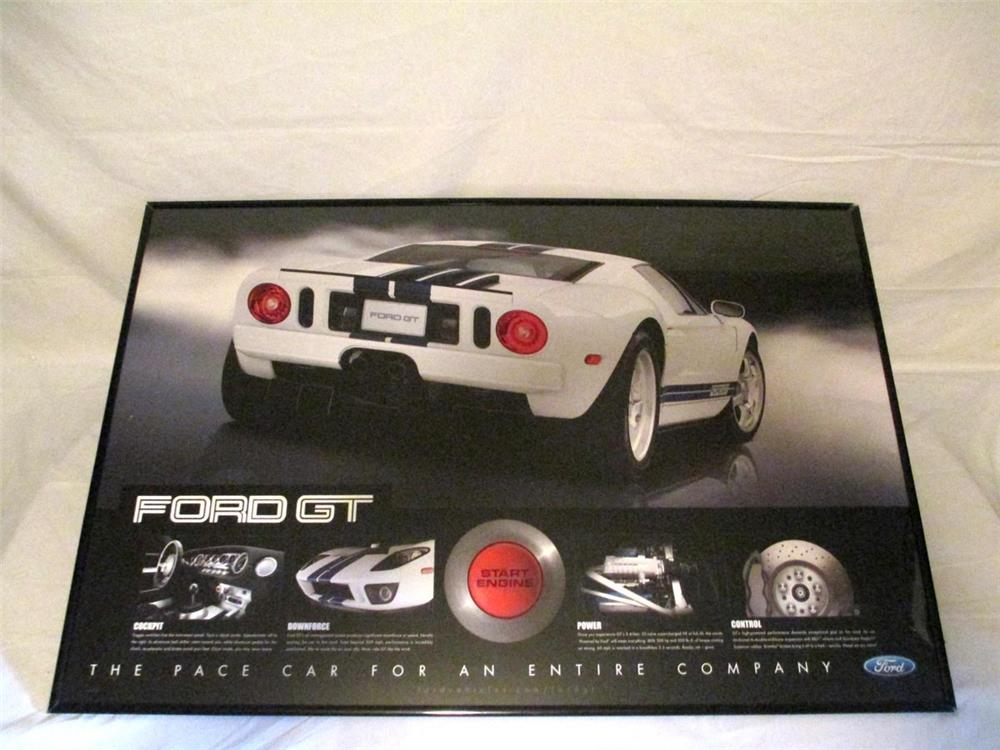 "NOS 2004 Fort GT ""The Pace Car For An Entire Company"" dealership double-sided framed poster - Front 3/4 - 186342"