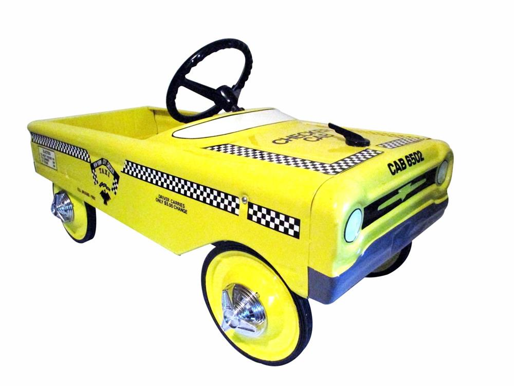 Professionally restored 1958 AMF New York Yellow Checker Taxi Cab pedal car with padded seat. - Front 3/4 - 186343