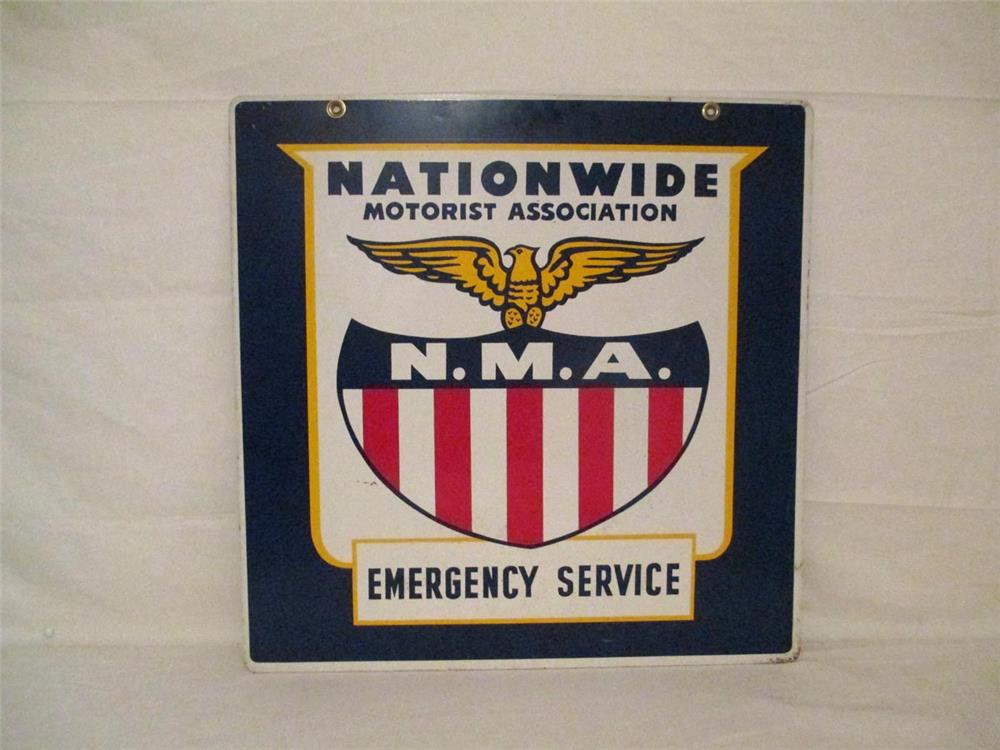 Near mint 1950s double sided Nationwide Motor Association Emergency Service tin sign with brilliant graphics. - Front 3/4 - 186391
