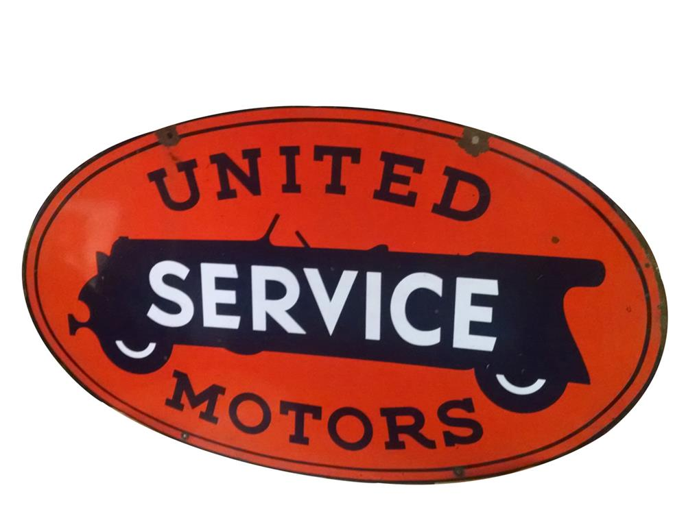 Impressive circa 1930s United Motors Service double-sided porcelain automotive garage sign with touring car graphic. - Front 3/4 - 186393