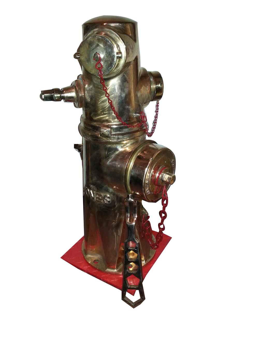 Stylish vintage solid brass fire hydrant made by Jones Mfg. - Front 3/4 - 186395