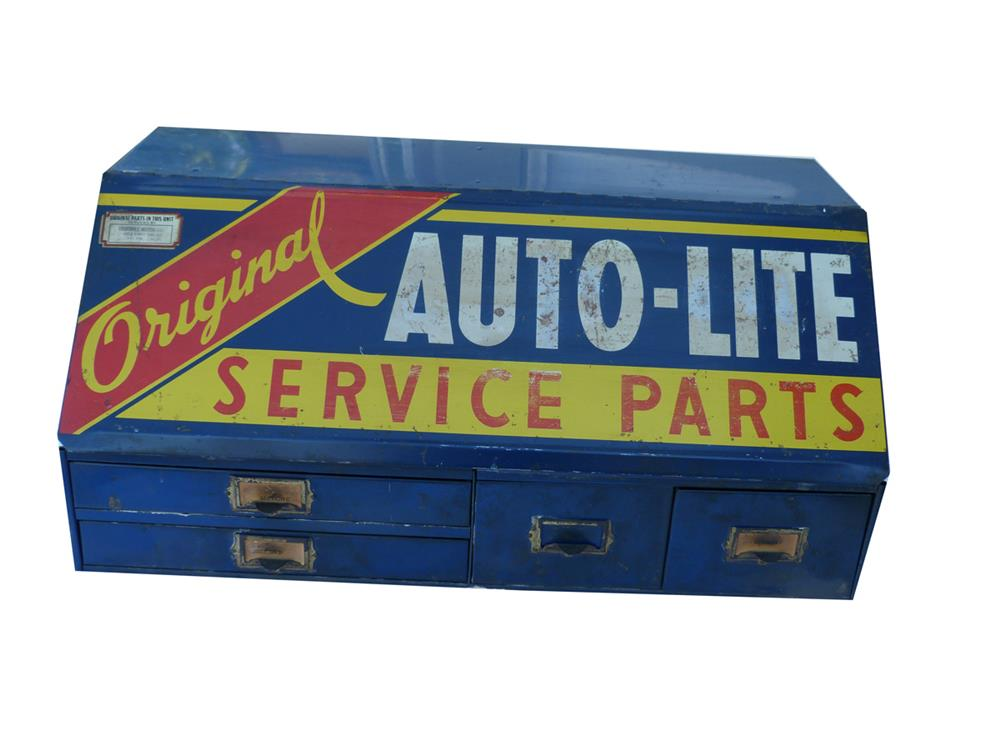 Circa 1940s-50s Auto-Lite dealership service department display cabinet. - Front 3/4 - 186405