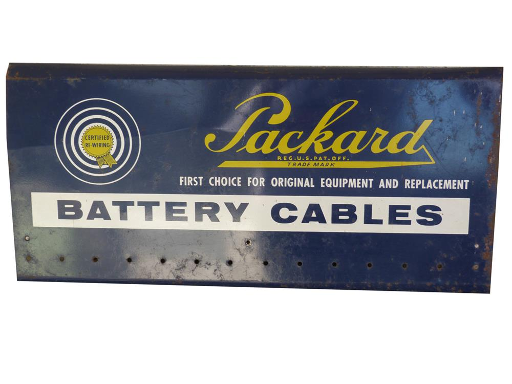 1950s Packard Battery Cables metal rack sign. - Front 3/4 - 186406