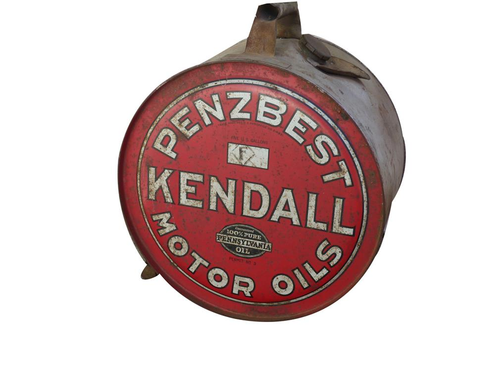 Hard to come by 1920s Kendall Penz Best Motor Oil five gallon rocker can with handle. - Front 3/4 - 186407