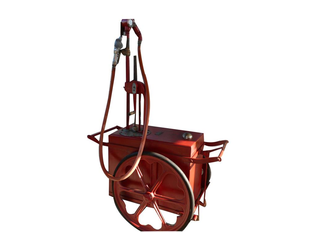 Late 1920s filling station three wheel portable gas cart. - Front 3/4 - 186408