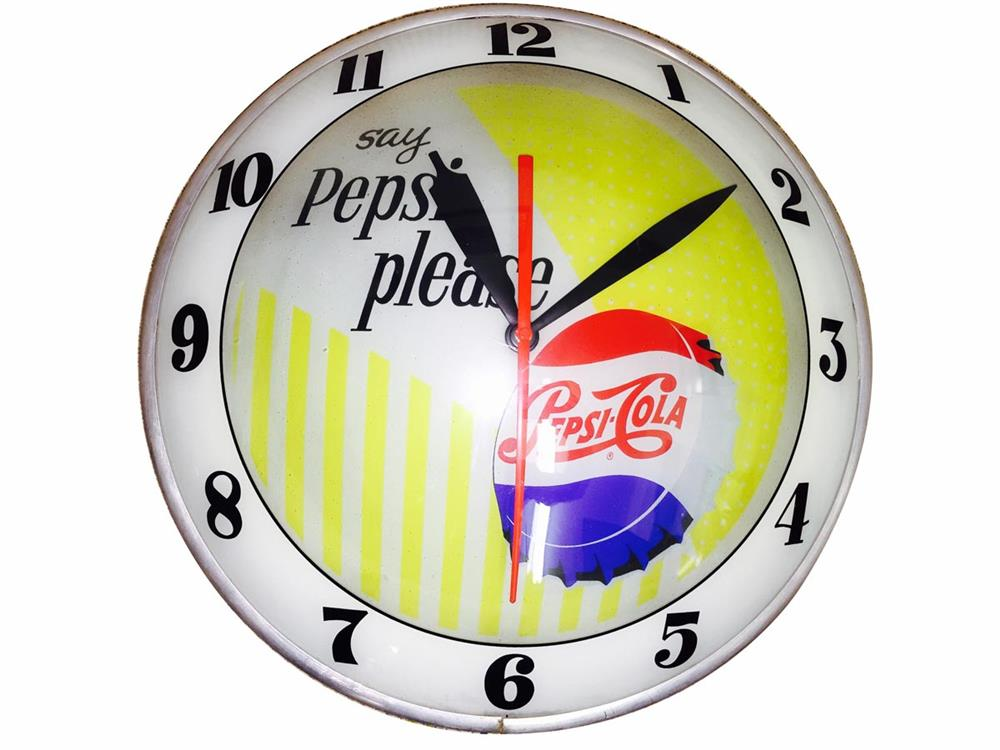 Highly desirable 1950s Pepsi-Cola double-bubble light-up diner clock with single-dot logo. - Front 3/4 - 186414