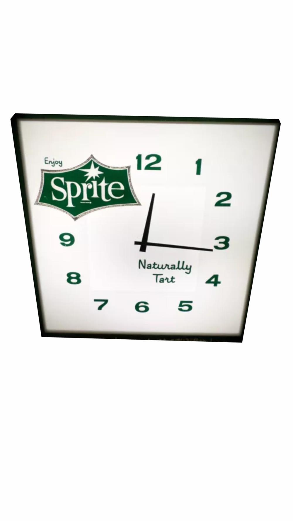 Impressive Sprite Soda light-up soda fountain clock. Lights and works well. - Front 3/4 - 186417