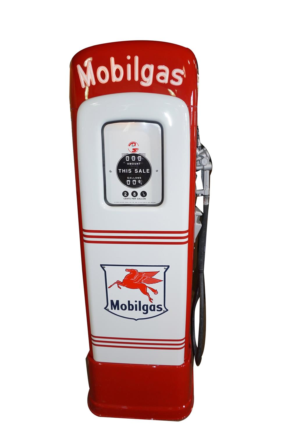 """Seldom seen 1946 Mobil Oil M & S 80 restored service station gas pump with lighted script top featuring """"Mobilgas"""". - Front 3/4 - 186426"""