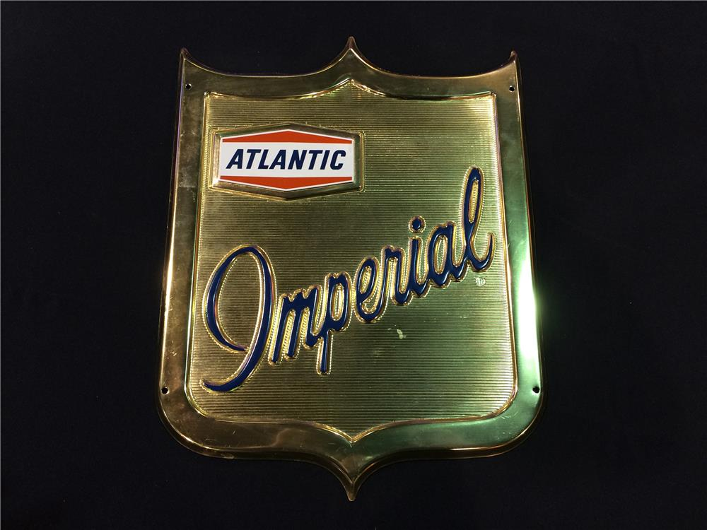 Addendum Item - Nifty early 1960's Atlantic Imperial Gasoline single-sided die-cut shield-shaped tin pump plate sign. - Front 3/4 - 186599