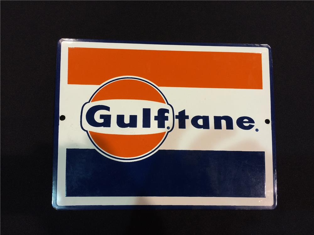 Addendum Item - NOS late 1950's-early 60's Gulf Oil Gulftane Gasoline porcelain pump plate sign with logo. - Front 3/4 - 186602