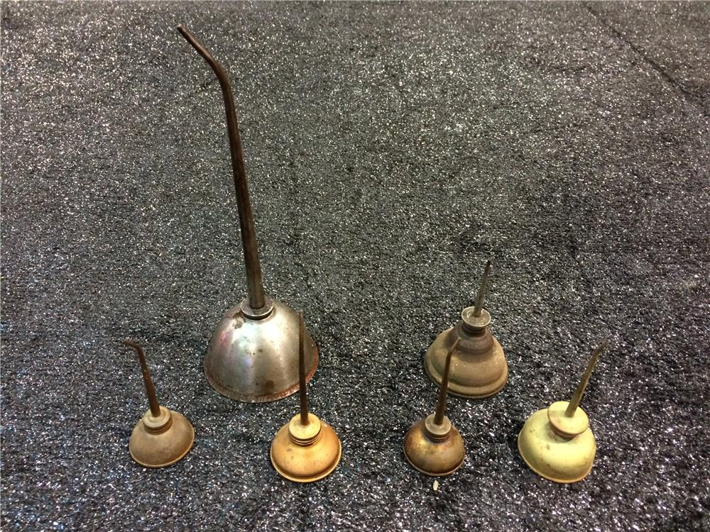 Addendum Item - Lot of six 1920s-30s filling station service department brass oilers with spouts. - Front 3/4 - 186611