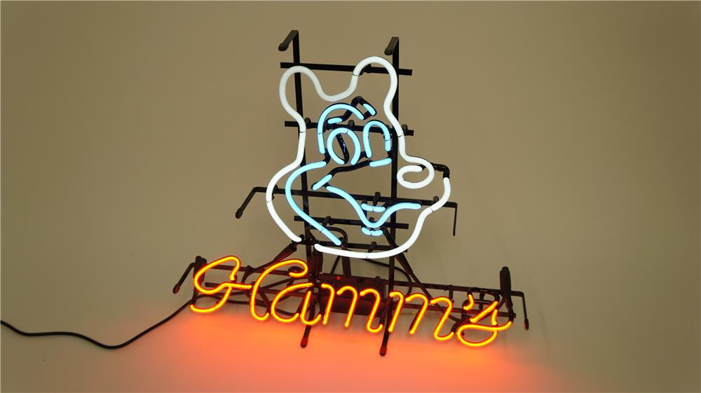 Addendum Item - Highly prized Hamm's Beer neon tavern sign featuring the famous Hamm's Bear icon. - Front 3/4 - 186613
