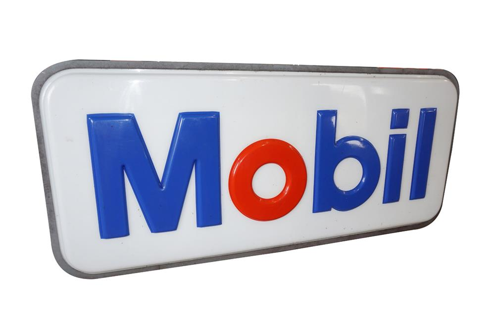 Large late 1960s Mobil Oil single-sided light up service station sign with embossed lettering - Front 3/4 - 187537