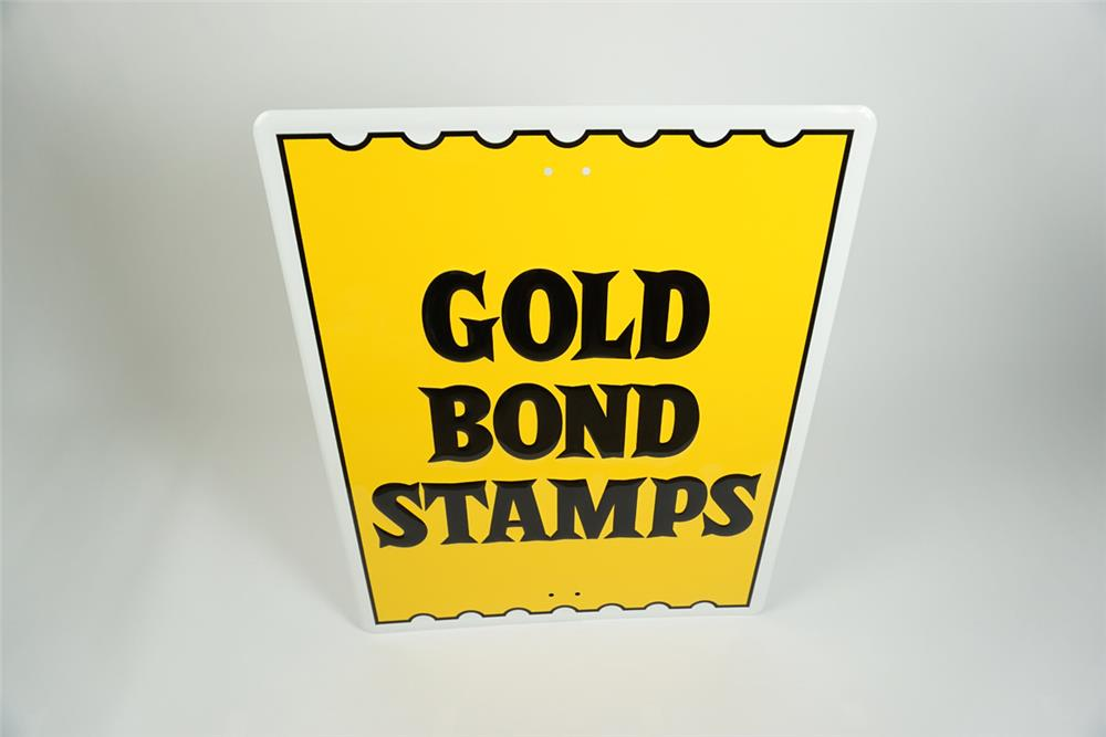 NOS vintage Gold Bond Stamps single-sided embossed tin service station sign. - Front 3/4 - 187542