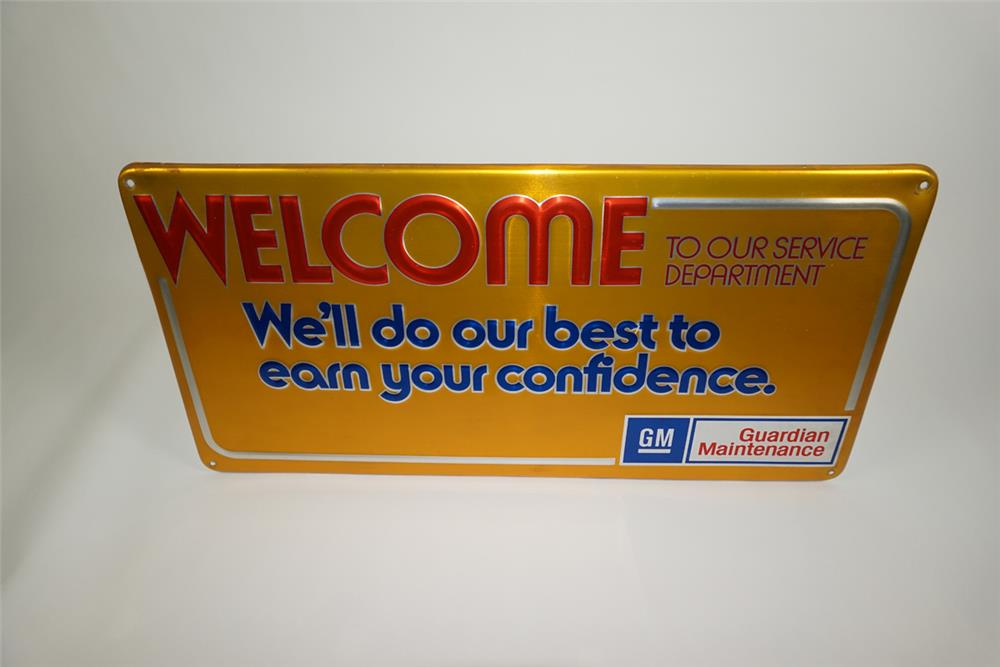 "Vintage GM ""Welcome To Our Service Department"" single-sided embossed tin sign. - Front 3/4 - 187543"