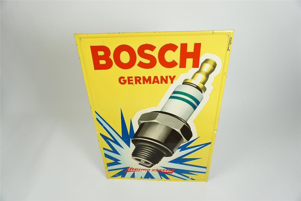Hard to find 1960s Bosch Spark Plugs single-sided tin sign with amazing spark plug graphic - Front 3/4 - 187546