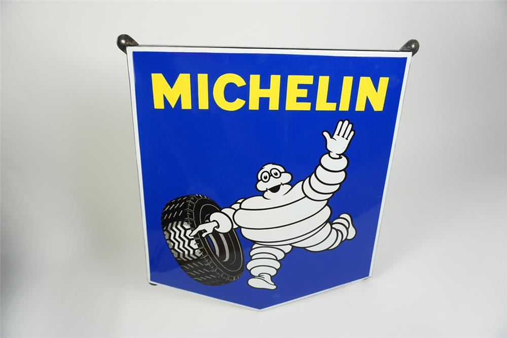 Highly desirable 1950s Michelin Tires single-sided porcelain shield shaped automotive garage sign. - Front 3/4 - 187547
