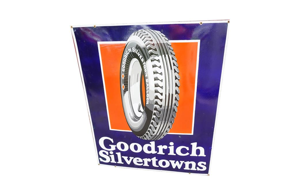 Very impressive 1930s Goodrich Silvertowns double-sided porcelain automotive garage sign with fantastic period tire graphics. - Front 3/4 - 187548