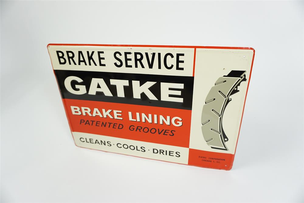 Choice 1950s Gatke Brake Lining Brake Service single-sided self-framed tin automotive garage sign with graphics. - Front 3/4 - 187595