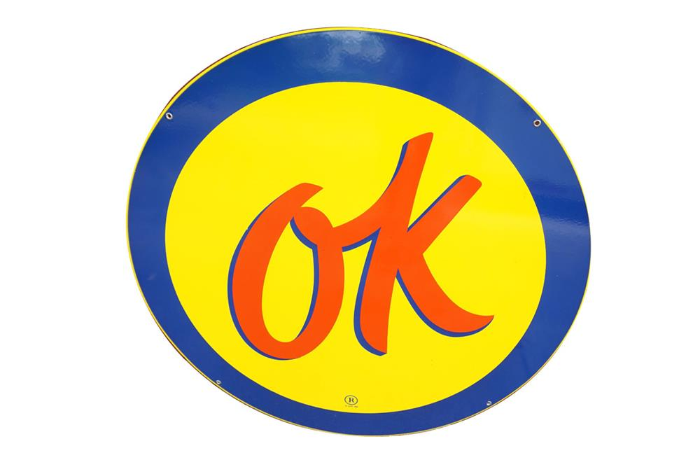 Immensely clean 1950s Chevrolet OK Used Cars single-sided porcelain dealership sign. - Front 3/4 - 187596
