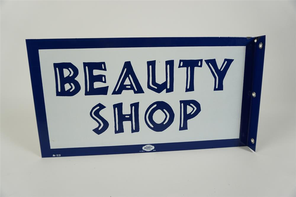 NOS early 1960s Beauty Shop double-sided porcelain flange sign. - Front 3/4 - 187606