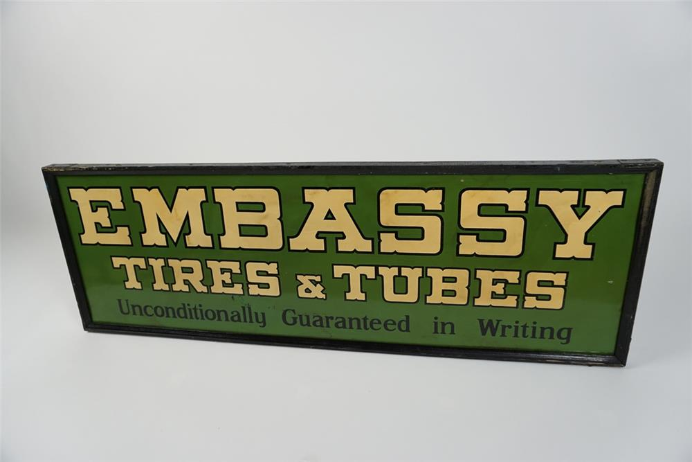 Scarce 1920s-30s Embassy Tires and Tubes tin painted wood framed automotive garage sign. - Front 3/4 - 187607