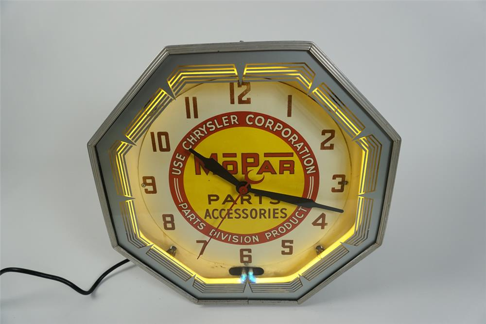 Amazing all original 1930s-40s Mopar Parts Accessories neon dealership wall clock. - Front 3/4 - 187608